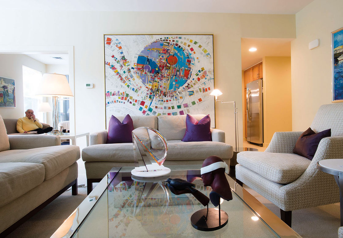 A NewBridge on the Charles apartment decorated with modern furniture and contemporary art.