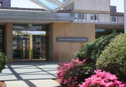The main entrance of Hebrew Rehabilitation Center - Boston with lined with beautiful blooming bushes.