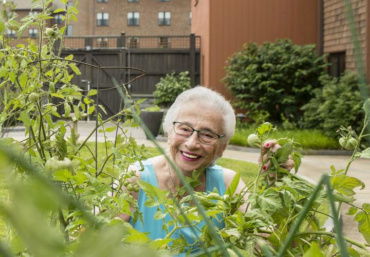 A resident enjoys the secure outdoor gardening area.