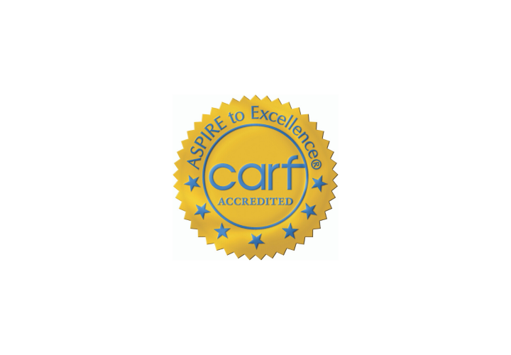 Gold circular badge that says Aspire to Excellence carf accredited with seven stars.