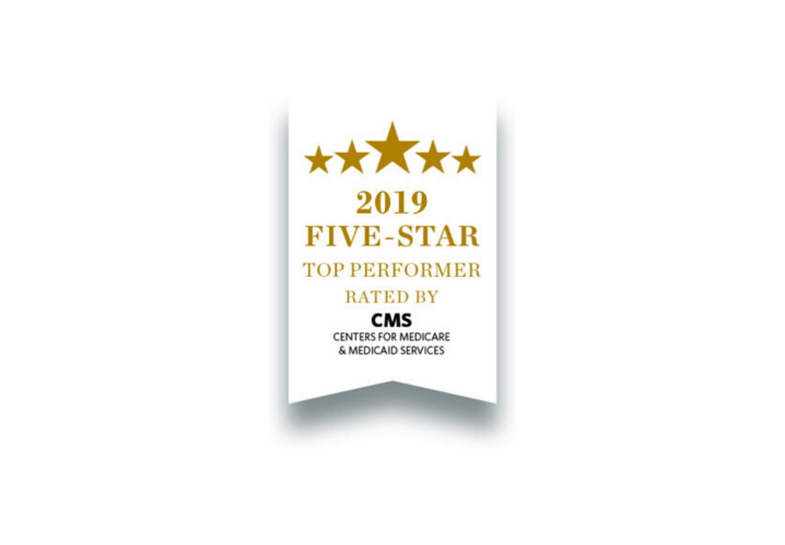 White ribbon that has five stars on it and says 2019 five-star top performer rated by CMS, Centers for Medicare and Medicaid Services.