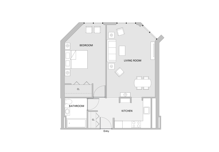 Floor plan of one bedroom apartment with an L shaped kitchen attached to a medium sized living room and a medium bedroom with a large closet.