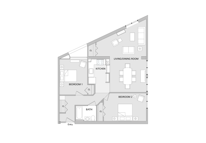 Floorplan of two bedroom apartment with U shaped kitchen in the center, a dining room connected to a living room, 1 large bedroom and 1 small bedroom, and 1 small bathroom.