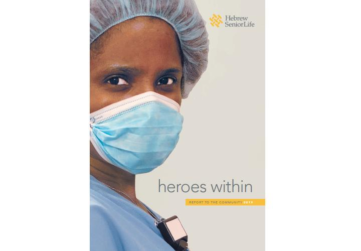 The cover of HSL's 2019 Report to the Community is Heroes Within and is a picture of a nurse wearing a mask.